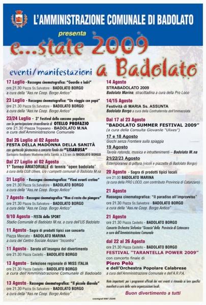 Badolato Summer Events 2009