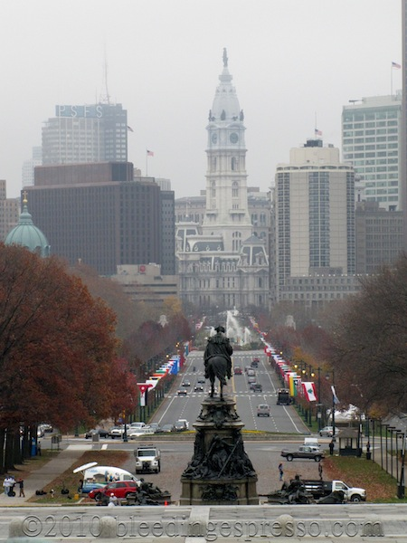 Ben Franklin Parkway and City Hall from steps of Philadelphia Museum of Art