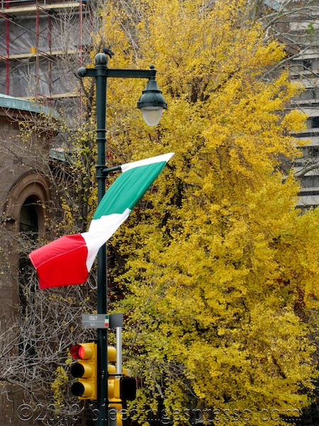 Italy's flag on the Ben Franklin Parkway; the rest are in alphabetical order, but Italy's is placed specially so it's adjacent to the Cathedral.