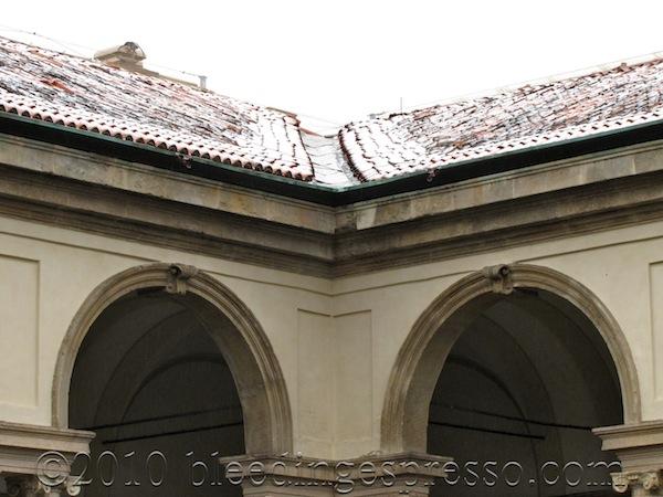 Snowy rooftop of Pinacoteca di Brera, Milano